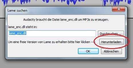 """In Audacity kann es beim Audio-Export zu Fehlern kommen. Klicken Sie in der Meldung auf """"Herunterladen"""""""