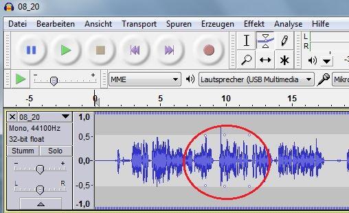 Im Schnittprogramm Audacity kann die Lautstärke einer Audio-Datei mittel Kontrollpunkte verändert werden