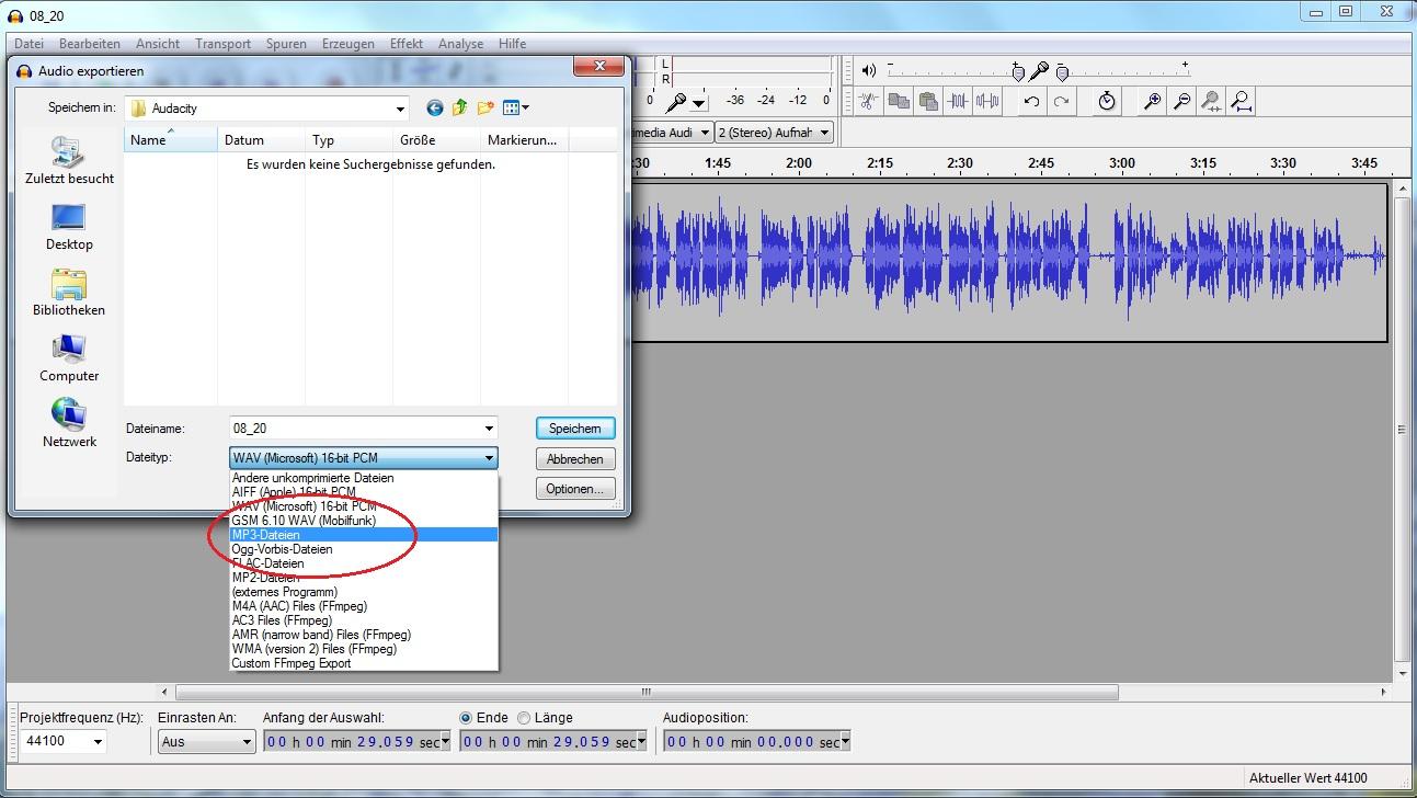 MP3-Format von Audio-Dateien braucht am wenigsten Speicher