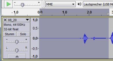 Sollen Tönen in der Audio-Spur herausgeschnitten werden, können diese in Audacity einfach markiert und gelöscht werden