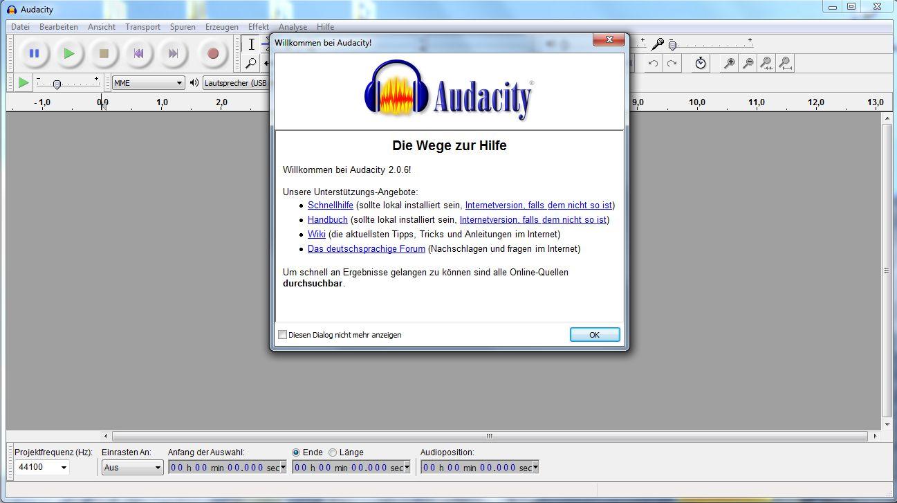 Töne und Audio-Dateien schneiden mit Audacity: Maske nach Öffnen des Schnittprogramms