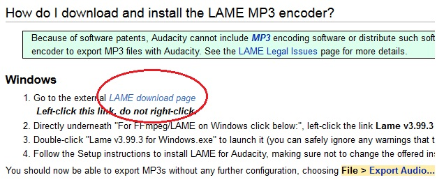 Um den Lame MP3 encoder herunterzuladen, folgen Sie dem externen Link