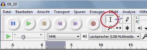 Ob in Audacity für den Audio-Schnitt auch das richtige Bearbeitungswerkzeug ausgewählt ist, sehen Sie in der Symbolleiste