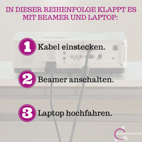 Beim Verbinden von Beamer und Laptop ist die Reihenfolge wichtig: Erst die Kabel einstecken, dann den Beamer anschalten und erst zum Schluss den Laptop hochfahren