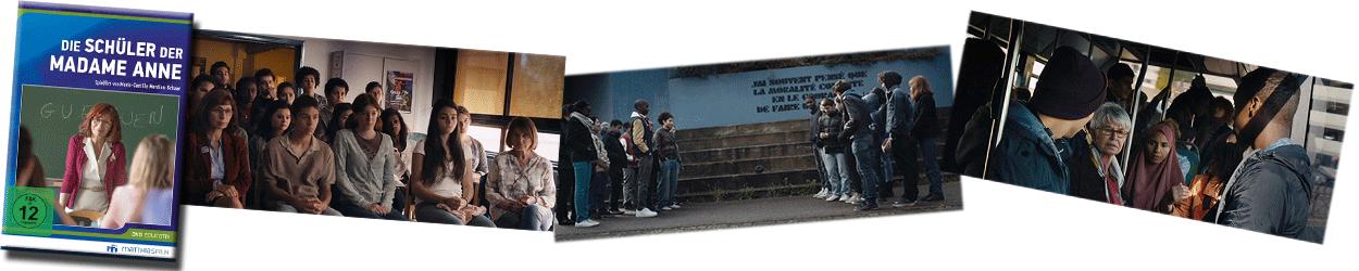 """Collage aus Film-Szenen """"Die Schüler der Madame Anne""""."""