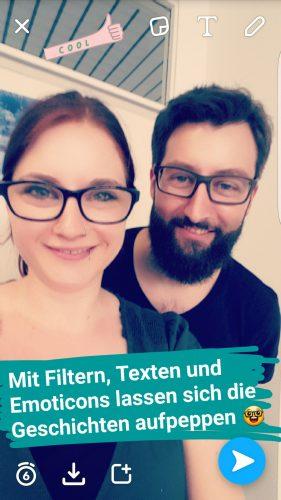 Snapchat: Die Geschichten können mit Filtern, Text und Emoticons ergänzt werden