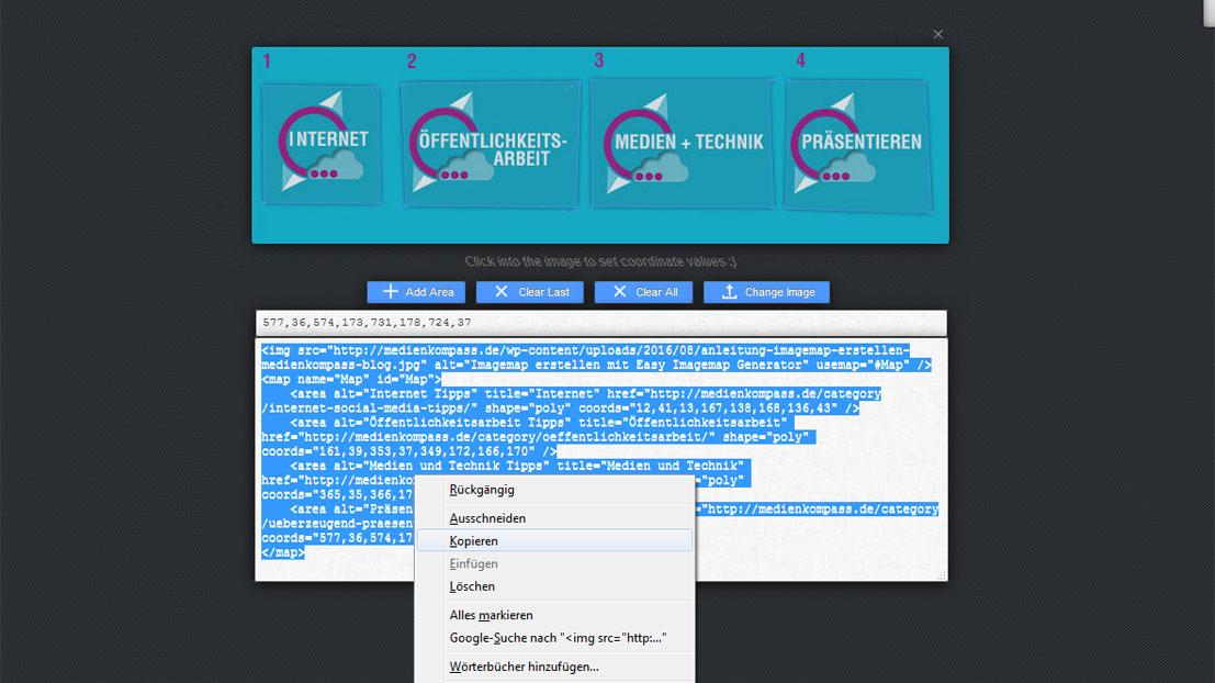Um eine Imagemap zu erstellen, muss der Code aus dem Easy Imagemap Generator kopiert werden
