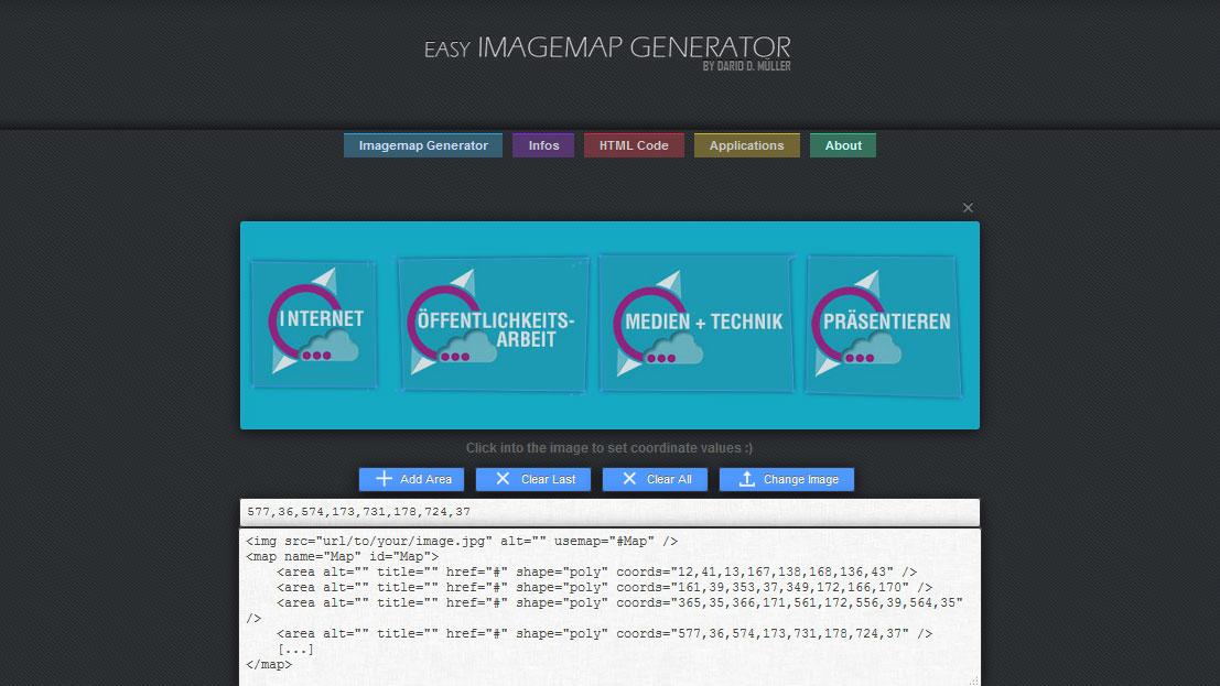 Im Easy Imagemap Generator können verschiedene Bereiche für die Verlinkung ausgewählt werden