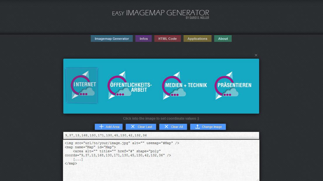 Die Koordianten werden vom Imagemap Generator ausgelesen