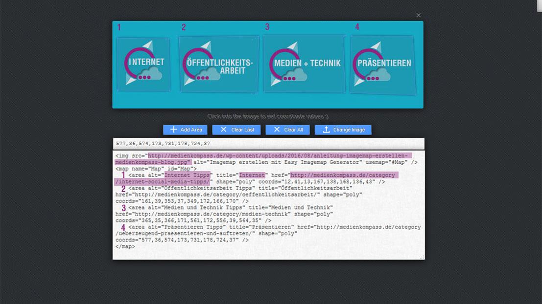 Im Easy Imagemap Generator können Sie verschiedene Links für die Grafik erstellen