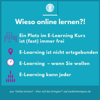 Online lernen, oder auch E-Learning bietet viele Vorteile. Mit Online-Kursen kann zeit- und ortsunabhängig gelernt werden