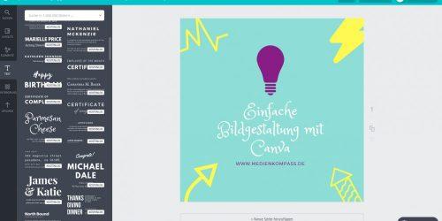 Anleitung für Canva: Mit Canva eigenen Text und Design wählen