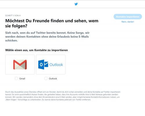 Wie funtioniert Twitter? Kontakte können bei einer Neuanmeldung nach Twitter exportiert werden