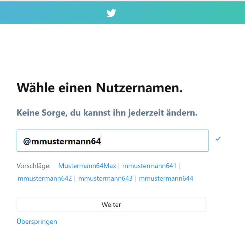So funktioniert Twitter: Zum Einstieg beim Anmelden in Twitter legen Sie einen individuellen Nutzernamen an, mit dem Sie von anderen Twitterern gefunden und angetwittert werden können