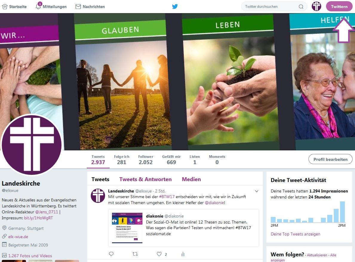 So sieht ein Twitterprofil aus: Es besteht aus dem Twitter-Profilbild, einem Twitter-Namen, einer Chronik und einem Header-Bild