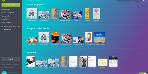 Anleitung für Canva: In canva haben Sie verschiedene Design Möglichkeiten um Ihre Grafik zu erstellen