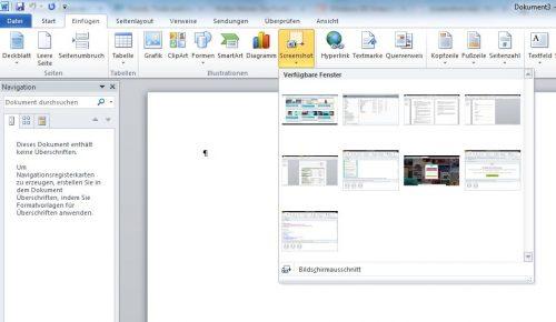 """Unter dem Reiter """"Screenshot"""" können sie mit Word einen Screenshot erstellen."""