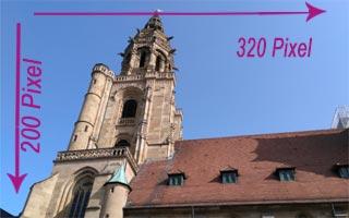 Die Heilbronner Kilianskirche als Beispielbild in den Maßen 320x200 Pixel. Dateigröße 14KB.