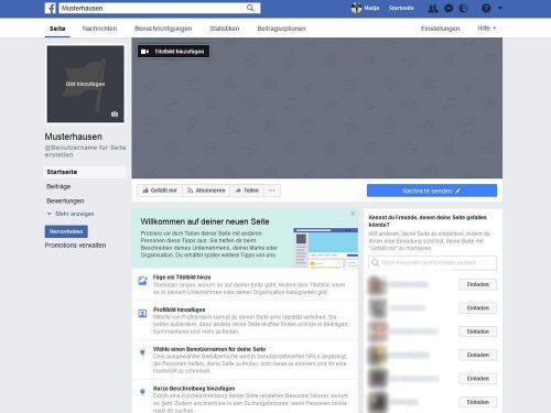 Zum Einrichten einer Facebook-Seite benötigen Sie ein Profil- und ein Titelbild, einen Benutzernamen und Informationen zu Ihrer Einrichtung