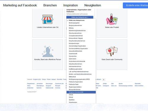 Um eine Unternehmensseite bei Facebook zu erstellen, wählen Sie die Facebook-Seitenart aus, zu der Ihre Gemeinde oder Ihre Einrichtung zählt