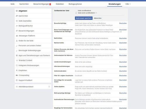 Um die Facebook-Seite für Ihre Gemeinde oder Einrichtung noch nicht sichtbar zu machen, rufen Sie die Einstellungen auf