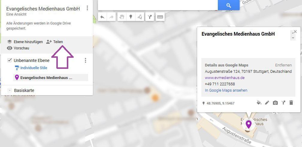 Klicken Sie auf teilen um Ihre Karte in Ihre Website einzufügen