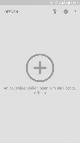 Tippen Sie auf den Bildschirm, um Fotos von Ihrem Handy in die App zu laden