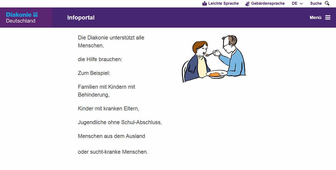 Im Zuge der Barrierefreheit bietet beispielsweise die Diakonie die Website in leichter Sprache mit Bildern an