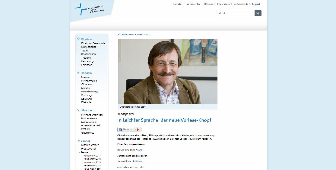 Zur Barrierefreiheit können auch Vorlesebuttons beitragen, die die Website in leichter Sprache vortragen