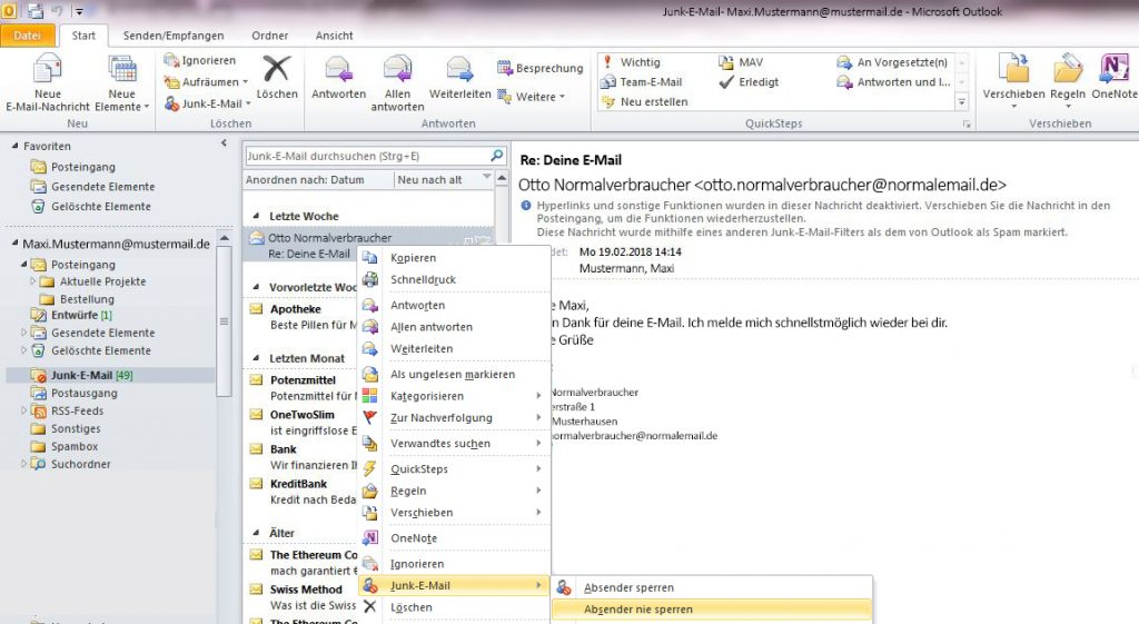 Ist eine E-Mail bei Outlook fälschlicherweise im Spam-Ordner gelandet, kann man einstellen, dass der Absender nie gesperrt wird