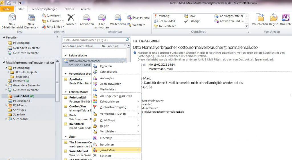 Um eine E-Mail aus dem Outlook-Junk-Ordner zu holen und damit diese nicht wieder als Spam erkannt wird, klickt man mit der rechten Maustaste auf die E-Mail und stellt ein, dass der Absender nie gesperrt wird