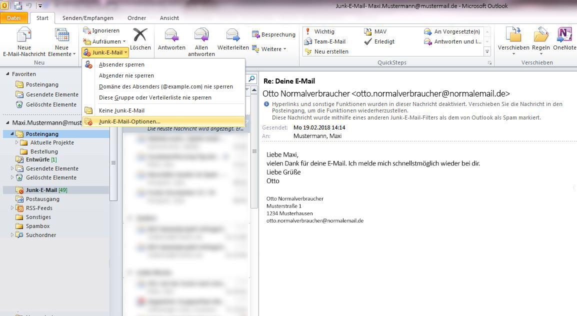 Möchte man von Vornherein ausschließen, dass eine E-Mail fälschlicherweise in Outlook als Spam gekennzeichnet wird, kann man die E-Mail-Adressen von vornherein als sicher definieren