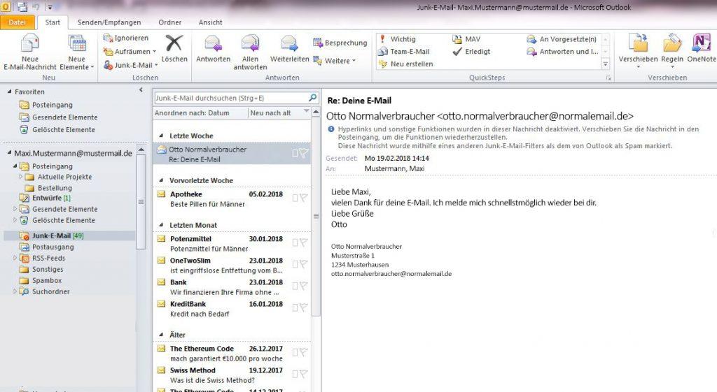 """Die E-Mail landet im Outlook im Junk-Ordner, obwohl Sie keine Spam-Mail ist. Mit den Einstellungen """"sicherer Absender"""" lässt sich das verhindern"""