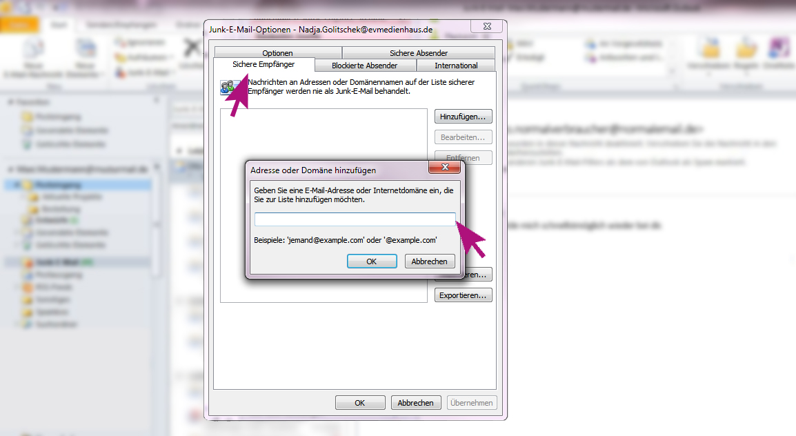 Um Sicherzustellen, das gewisse E-Mails von Absendern niemals im Junk-Ordner von Outlook landen, kann man sie zu einer sicheren Liste hinzufügen