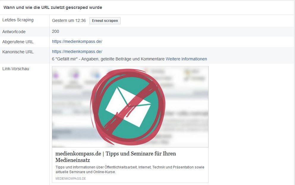 Die gescrapte URL dank Facebook Debugger