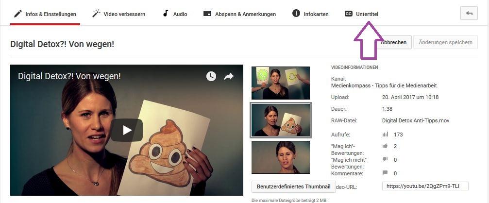 YouTube erstellt für Videos automatische Untertitel. Diese können in den Einstellung selbst bearbeitet und aus YouTube als SRT-Datei heruntergeladen werden