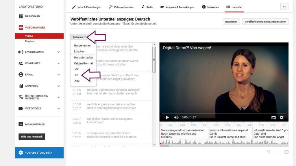 Die YouTube-Untertitel sind nicht nur für die Videoplattform interessant, sie können als SRT-Datei auch für Facebook-Vidoes verwendet werden