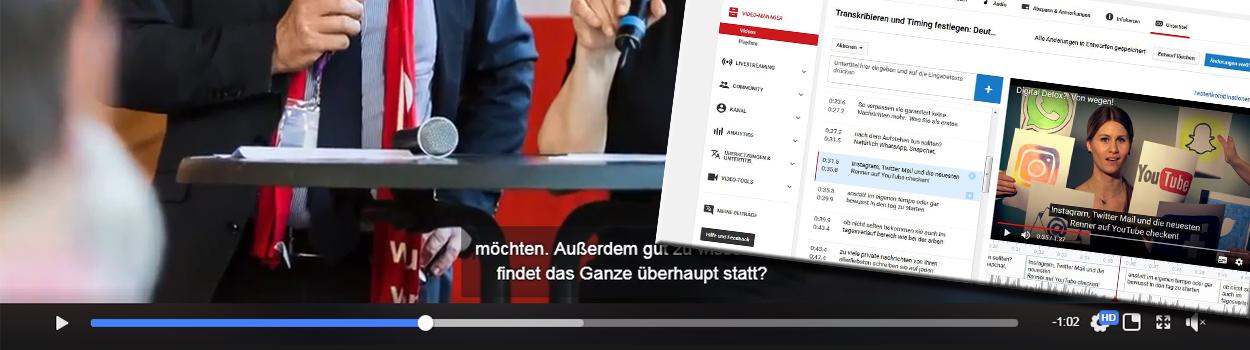 Automatische Untertitel für Facebook- und YouTube Videos kann man direkt bei YouTube bearbeiten und als SRT-Datei herunterladen
