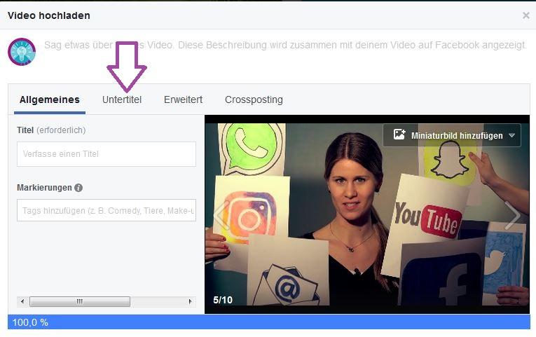 Die YouTube-Untertitel können mit der heruntergeladenen SRT-Datei auch an das Video zum Untertiteln angefügt werden