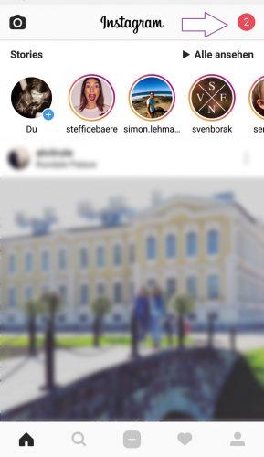 Die Nummer für die Anzahl Ihrer Benachrichtigungen finden Sie neben dem Instagram Logo