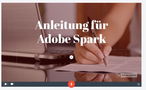 Adobe Spark Folie mit Theme