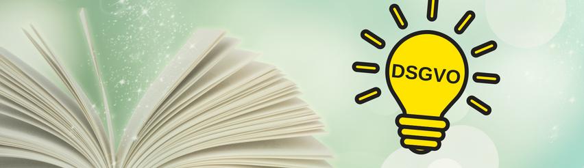 Aufgeschlagenes Buch und daneben eine gelbe Glühbirne mit dem Schriftzug DSGVO