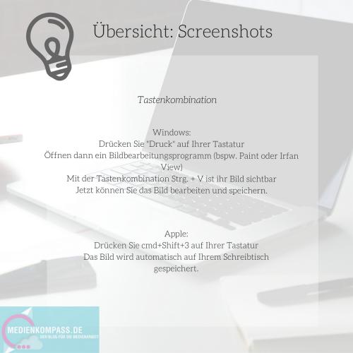 Kurzusammenfassung: wie mach eich einen Screenshot? Jeweils für windows und apple-Geräte