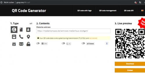 Screenshot: Zeigt die Benutzeroberfläche eines QR-Code-Generators