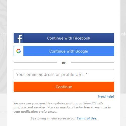 Es gibt die Möglichkeit sich bei soundcloud mit facebook oder google anzumelden oder ein eigenes Konto anzulegen