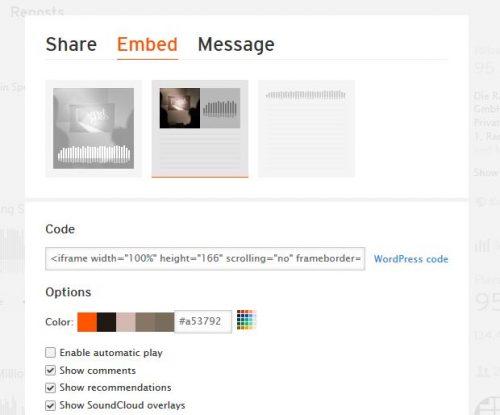 Sie haben die Möglichkeit den Beitrag ganz normal zu teilen, können aber auch einen Embed-Code erstellen oder direkt als Nachricht verschicken.