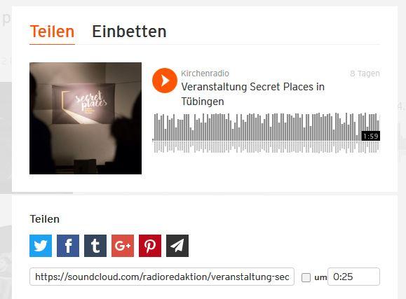 SoundCloud bietet verschiedene Optionen zum Teilen an. Der Link kann mit einer individuellen Startzeit versehen werden
