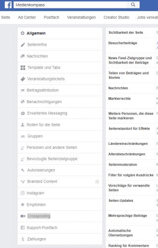 Screenshot Facebook: Einstellungen für Unternehmensseiten und Crossposting-Beziehung aufbauen