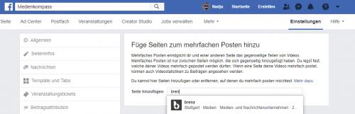 Screenshot Facebook: Unternehmensseite zum Crossposting hinzufügen