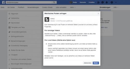 Screenshot Facebook: Regelungen und Vereinbarung, was das Crossposting beinhaltet